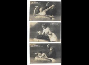 "Y16258/ Schöne 6er Serie ""Sektlaune"" junges Paar 1913 Foto AK"