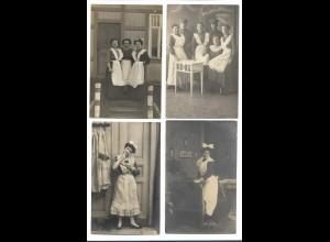 Y16282/ 4 x Foto AK Haushälterin Hausangestellte ca.1909-15