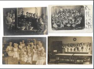 Y16283/ 4 x Foto AK Haushaltungsschule Kochen Küche ca.1912 - 15