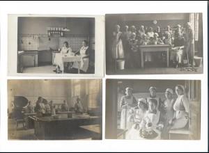 Y16284/ 4 x Foto AK Haushaltungsschule Kochen Küche ca.1912 - 20