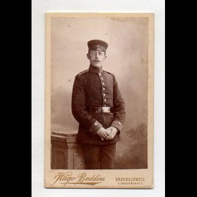 Y15034/ CDV Foto Soldat Militär Foto Hugo Beddies, Braunschweig ca.1895