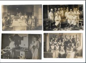 Y16285/ 4 x Foto AK Haushaltungsschule Kochen Küche ca.1912 - 20
