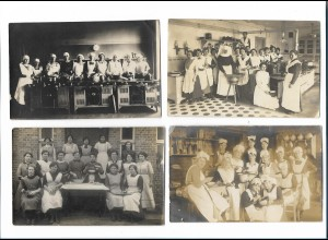 Y16286/ 4 x Foto AK Haushaltungsschule Kochen Küche ca.1912 - 20