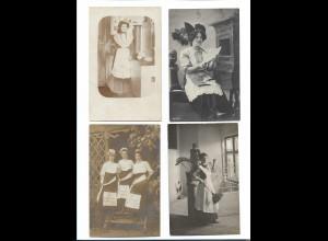 Y16287/ 4 x Foto AK Hausangestellte Haushaltshilfe Kochen Küche ca.1910 - 20
