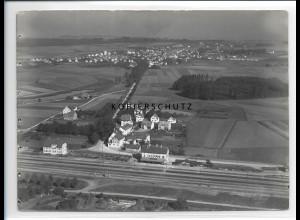 ZZ-0629/ Schussenried mit Bahnhof seltenes Foto Luftbild 1937 18 x 13 cm