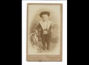 S2067/ CDV Foto Junge mit Holzpferd Spielzeug Atelier E. Brandt, St. Pauli