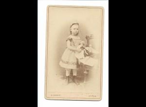 S2066/ CDV Foto Mädchen mit Puppe Atelier Knorr, Leipzig ca.1890