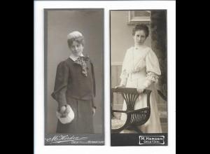 S2073/ 2 x CDV Foto Frauen Atelier M. Herden in Oels Schlesien ca.1905
