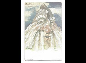 S2114/ E. Hansen Nolde Berge mit Gesichter AK Nr. 10 ca.1900 Matterhorn