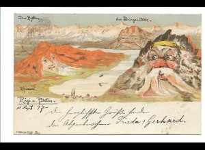 S2115/ E. Hansen Nolde Berge mit Gesichter Litho AK Nr. 11 1897 Rigi Pilatus