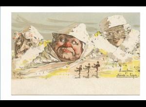 S2116/ E. Hansen Nolde Berge mit Gesichter Litho AK Nr. 7 1897 Jungfrau