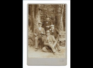 S2080/ Kabinettfoto 4 Männer Atelier O. Lonke, Kipsdorf ca.1900