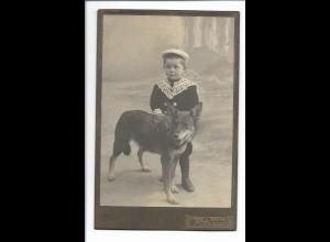 S2081/ Kabinettfoto Junge mit Hund Schäferhund Foto Mauthe, Balingen ca.1910