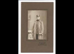 S2122/ Kabinettfoto Militär Soldat mit Pickelhaube Atelier Schmidt, Königsbrück