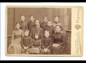 S2089/ Kabinettfoto Lehrer mit Kinder, Foto Gebr. Christin, Reval Estland 1891