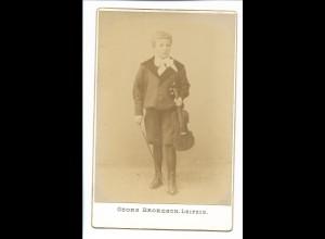 S2091/ Kabinettfoto Junge mit Geige Violine Foto Georg Brokesch, Leipzig 1901