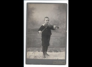 S2092/ Kabinettfoto Junge mit Geige Violine Foto Paul Kruse, Hamburg ca.1905