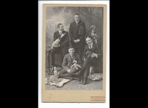 S2119/ Kabinettfoto Männergruppe mit Spielzeug ca.1910 Foto Zeppenfeld, Neuwied