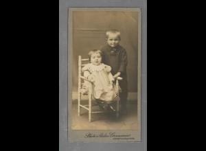 Y16291/ CDV Foto Kinder Junge + Mädchen Atelier Germania, Siegen ca.1910