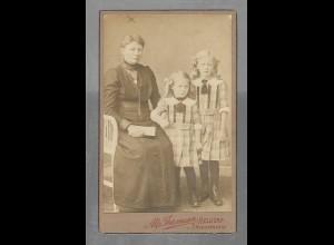 Y16337/ CDV Foto Mutter und Kinder Mädchen Atelier Thiemann, Meldorf ca. 1905