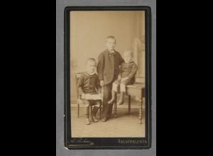Y16348/ CDV Foto Geschwister Kinder Atelier A. Bohne, Aschersleben ca. 1880