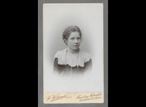 Y16349/ CDV Foto junge Frau Atelier H. Wittrock, Hamburg-Hohenfelde ca.1895