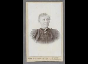 Y16350/ CDV Foto junge Frau Atelier F. Stammerjohann, Burg in Dithm. ca.1900