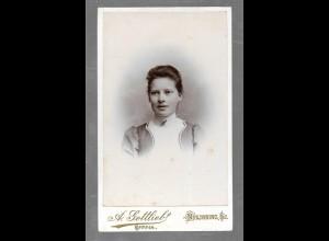 Y16351/ CDV Foto junge Frau Atelier A. Gottlieb, Nyköbing ca.1900