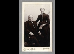 Y16363/ CDV Foto älteres Ehepaar Atelier Oscar Wils, Kolding ca.1890
