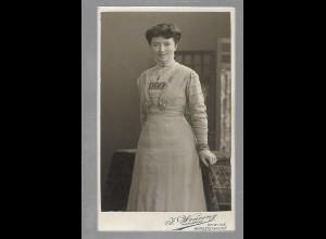 Y16365/ CDV Foto junge Frau Atelier Josef Wenning, Rheien ca.1900