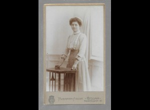 Y16368/ CDV Foto junge Frau , Photograph-Atelier Potsdam ca.1900