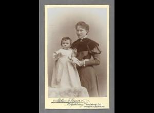 Y16375/ CDV Foto Mutter und Kind Atelier Seyser, Magdeburg ca.1900