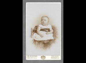 Y16377/ CDV Foto Baby Kind Atelier J. S. Schröder, Dresden ca.1900