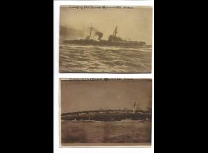 C3768/ 2 x Foto Untergang der S.M.S. Blücher 24. Januar 1915 Nordsee