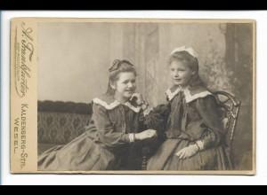 Y16485/ Kabinettfoto 2 Mädchen Geschwister Atelier A. Frankfurter, Wesel 1906