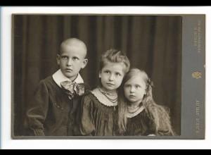 Y16486/ Kabinettfoto Kinder Geschwister Globus Atelier, Berlin ca.1905