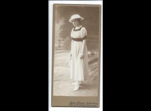 Y16483/ Kabinettfoto junge Frau mit Hut Atelier Haynn Berlin Lichtenberg ca.1905