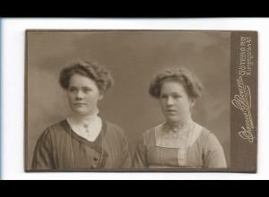 Y16474/ CDV Foto zwei Frauen Atelier James Bourn, Göteborg ca.1905