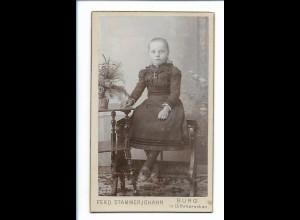Y16477/ CDV Foto Mädchen Atelier F. Stammerjohann, Burg in D. ca.1900