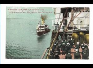 V189/ Amerika Dampfer nimmt Passagier auf auf der Untelbe AK 1913
