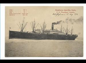 V192/ Dampfer President Lincol Hamburg-Amerika-Linie AK 1911
