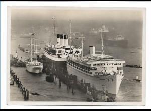 V208/ Kdf Dampfer Wilhelm Gustloff und Cap Arcona in Hamburg Foto AK ca.1938