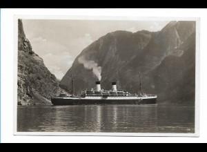 V210/ KdF Dampfer in Norwegen Schiffspost Monte Olivia Foto AK