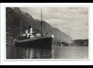 V211/ KdF Dampfer Monte Sarmiento vor Odda Norwegen + Schiffspost 1935 Foto AK
