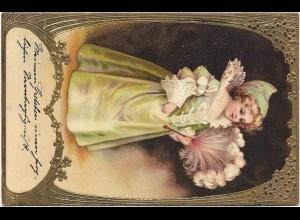 Y16439/ Jugendstil Mädchen mit Fächer Gold- und Prägedruck Litho 1903
