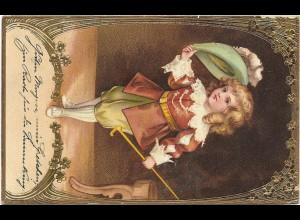 Y16441/ Jugendstil Junge Rokoko Gold- Prägedruck Litho AK 1903