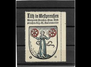Y16668/ Reklamemarke LÜTZ in Westpreußen Wappen Kaffee Hag