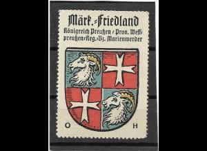 Y16679/ Reklamemarke Märk. Friedland Westpreußen Wappen Kaffee Hag