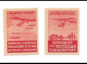 Y16710/ 2 x Reklamemarke Hirth-Flüge, Hans Grade Flugzeug Metzeler Fliegerstoff
