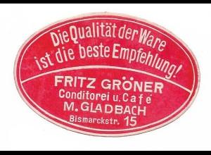Y16721/ Siegelmarke M. Gladbach Fritz Görner Konditorei u. Cafe ca.1920